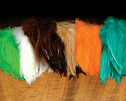 Mainstay for all tyers, they are long beautifully dyed. Not as webby as schlappen great for nymphs, and streamers.