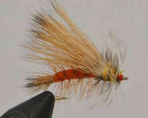 October Caddis Excellent searching pattern, also works well for a stonefly or yellow sallie imitation.